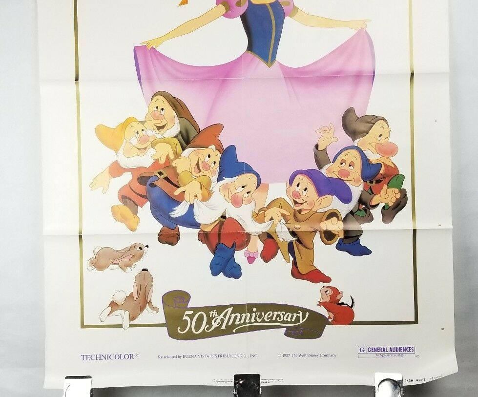 "Snow White & the Seven Dwarfs 50th Movie Poster 41""x27"" Original Rolled Ship image 3"