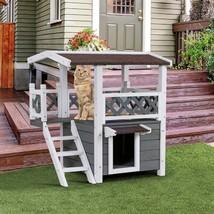 2-Story Outdoor Weatherproof Wooden Cat House - $149.28