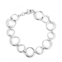 Women's Sterling Silver Designer Multi-Shaped Circle Link  Bracelet - $179.99