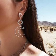 Ronglia Boho Dangle Earrings Silver Sunflower Drop Earrings Moon Pendant Ear Jew