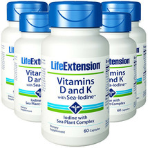 Vitamins D and K with Sea-Iodine Life Extension 5X60 Caps MK-7/K1/K2 - $69.07