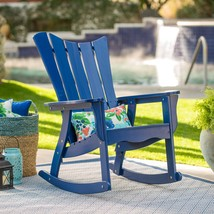 Admiral Blue Adirondack Style Rocking Chair Outdoor Patio Porch Rocker C... - $185.42