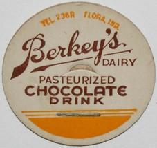 Vintage milk bottle cap BERKEYS DAIRY Chocolate Drink Flora Indiana unus... - $9.99