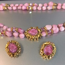 Vintage Florenza Pink Bead & crystal NECKLACE & Earrings matching SET  - $116.88