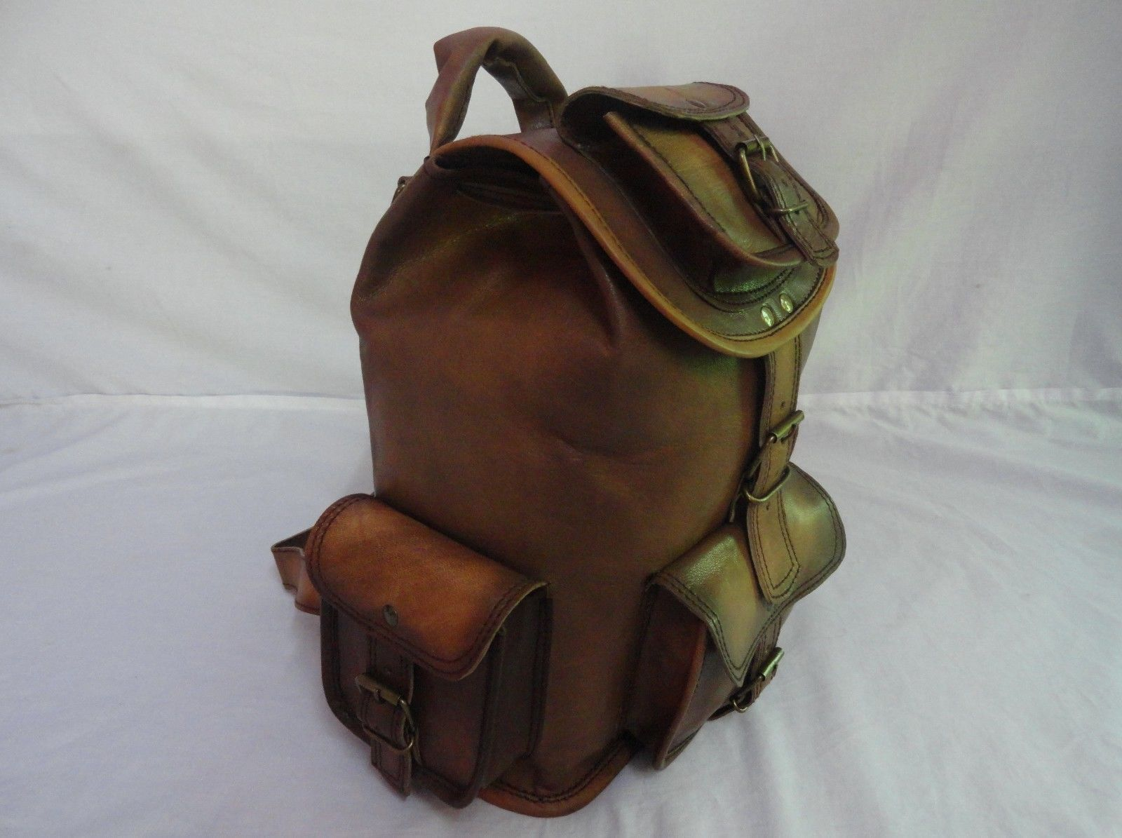 "13"" High Vintage Leather Rucksack Handmade Backpack Shoulder Bag Book Bag image 3"