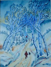 Snow Landscape Painting Church Watercolor Signed F Musser Figure Dog 01099 - $192.00