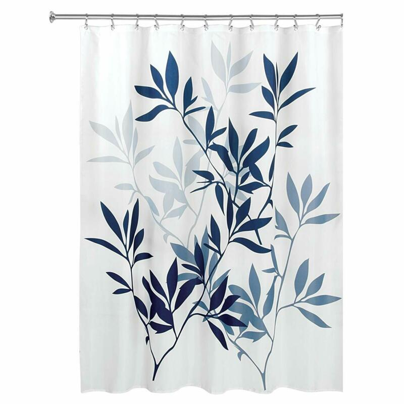 Interdesign Leaves Fabric Shower, Modern Mildew-Resistant Bath Curtain For Maste