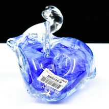 Dynasty Gallery Handmade Blue Elephant Glow in the Dark Art Glass Figurine image 5
