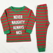 Carters Boys Pajamas 12M Christmas Red Green Striped Thermal 2 Pc PJs Ho... - $8.99