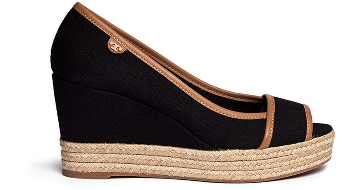 df1e012012933 Tory Burch  majorca  Wedge Sandals Peep Toe Espadrille Pumps Shoes Black 8.5