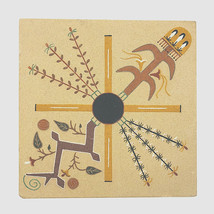 Vintage Sand Painting Four Sacred Plants Navajo Indian Sand Art Roselyn ... - $38.52