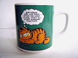 Garfield Birthdays Are Like Dogs Green Coffee Mug Cup Enesco 1978 - $5.89