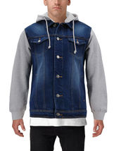 Men's Two Tone Jean And Grey Jersey with Removable Hood Denim Trucker Jacket image 7