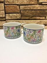 My Garden Coffee Cup Multi-Color Floral Flat Stoneware Interiors 5 Oz Lo... - $13.20