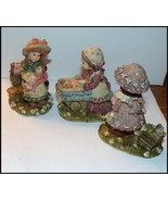 Estate Lot of 3 Small Girl Figurines Holding Baby, Feeding, Carriage, Wagon - $19.95