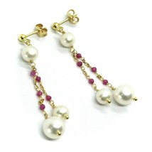 18K YELLOW GOLD PENDANT EARRINGS, DOUBLE WIRE FW PEARLS AND RED CUBIC ZIRCONIA image 1
