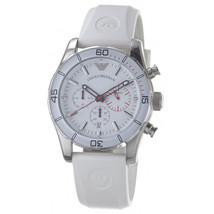 NEW with Tag Emporio Armani Mens Watch Chronograph Silver Slicone White ... - $143.55