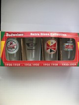 Unused Unopened Budweiser Retro Clear Pint Glasses Set of 4 Years 1930 t... - $62.89