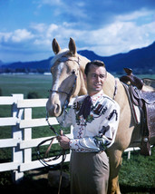 Alan Ladd Striking Pose With Horse in western outfit 16x20 Poster - $19.99