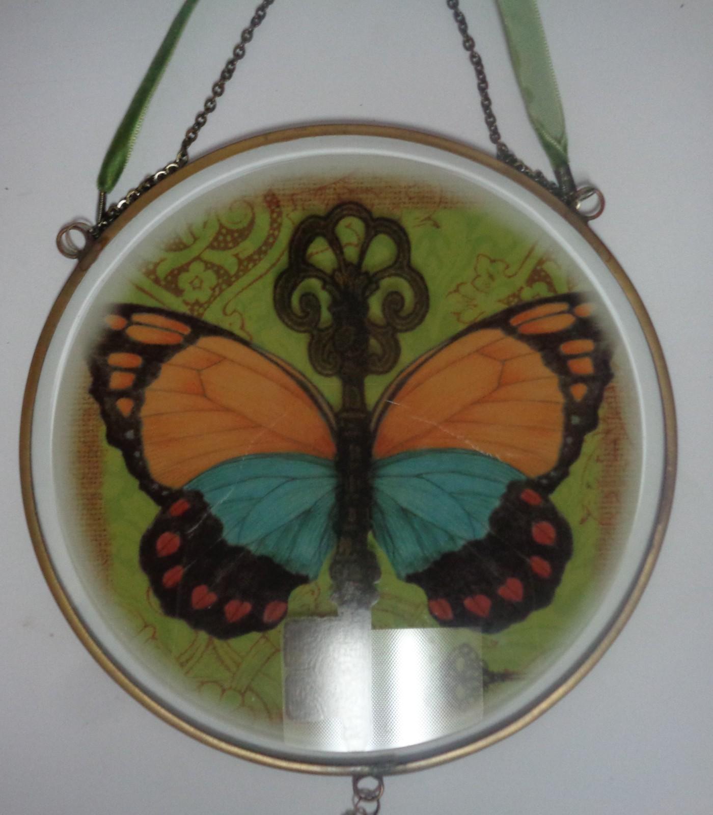 "Butterfly Hanging Window Wall Art NIB 14"" Diameter Artful Reflections Glass"