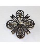Rafaelian Gunmetal Gray Cross Brooch Pin with Swarovski Luminous Green C... - $24.74