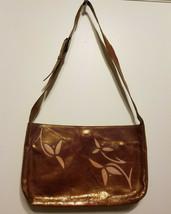 DKNY Patent Leather Baguette Handbag, Cognak, Floral Detail, Pre-owned - $39.99