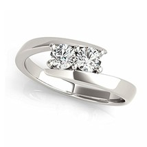 Rd White Cut CZ Diamond 925 Sterling Silver Two Stone Bridal Engagement Ring Set - $85.99