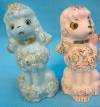 "Poodle Dogs 2 Figurines 3"" Tall Blue Pink Gold Porcelain Gifts  - $22.99"