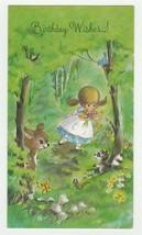 Vintage Birthday Card Girl Picks Flowers Deer Raccoon 1960's Olympicard - $9.89