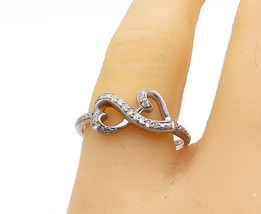 925 Sterling Silver - Vintage Topaz Love Heart Infinity Band Ring Sz 9 - R16161 - $22.82