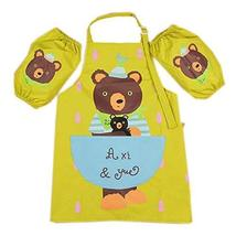 PANDA SUPERSTORE Kids Apron Bear Apron for Cooking Painting 3-6 Years Old, Green