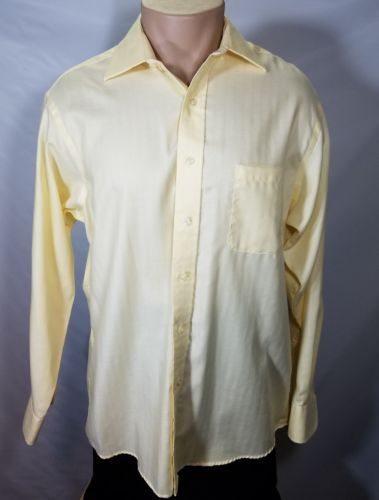 CHAPS LONG-SLEEVE MEN'S DRESS SHIRT YELLOW SIZE 34 35 16 RN36543 100% COTTON