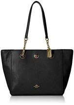 COACH Women's Pebbled Turnlock Chain Tote 27 (Li/Black) - $182.47