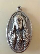 "1.25""VINTAGE CHRISTIAN 3D JESUS SILVERTONE PENDANT,ITALY,SACRED HEART,CA... - $14.84"
