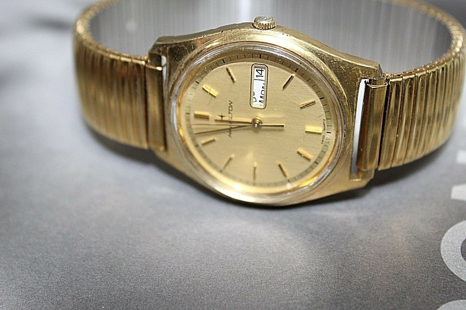Hamilton quartz vintage day date gold plated nice watch