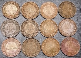 Collection of 12x Canada Large Cent Coins - Dates: 1916 to 1918 - $14.55