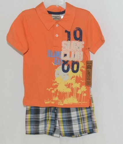 Little Rebels Surf Club Short and Shirt Set Orange Plaid Size 2T
