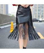 High Waist Women Leather Tassels Pencil Skirt - $20.90