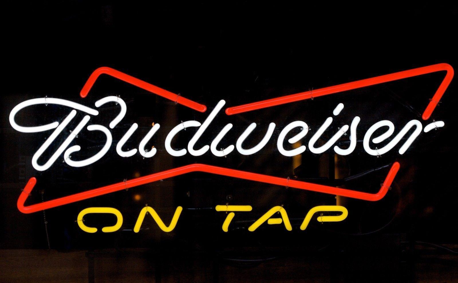 "New Budweiser On Tap Beer Bowtie Bar Pub Neon Sign 20""x16"""