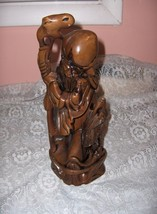 Vintage Carved Wood Sculpture Statue Old Chinese Wise Man Stick  Bird St... - $123.75