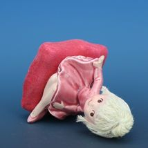 Vintage Japanese Mophead Girl Figurine on Velvel Flocked Pink Pillow image 5