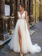 Glittery Princess Side Split V Neck Appliques Lace Boho Wedding Dress image 4