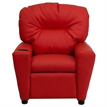 Contemporary Red Vinyl Kids Recliner with Cup Holder - $119.06