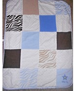 Carters Just One You Little Boy Baby Blanket Squares Zebra Stripe Blue T... - $29.57