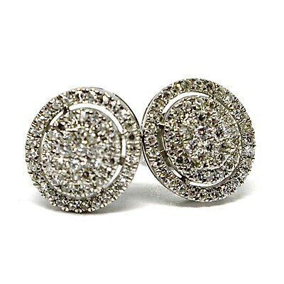 White Gold Earrings 750 18k, 0.31 Carat Diamonds, Button, Oval, sett