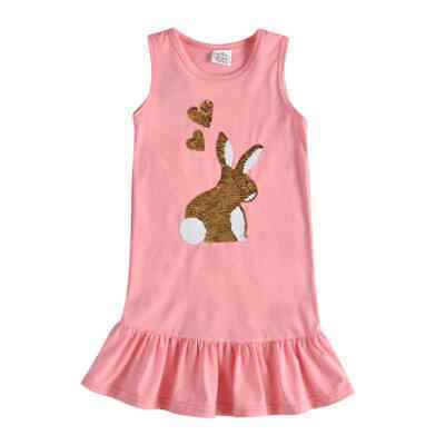 Primary image for NEW Flip Sequin Bunny Rabbit Girls Pink Easter Ruffle Dress 3-4 4-5 5-6 6-7 7-8