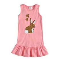 NEW Flip Sequin Bunny Rabbit Girls Pink Easter Ruffle Dress 3-4 4-5 5-6 ... - $16.99
