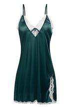 Ekouaer Women's Sexy Satin Lace Chemise Sleepwear Nighties, Green,XS - $18.75