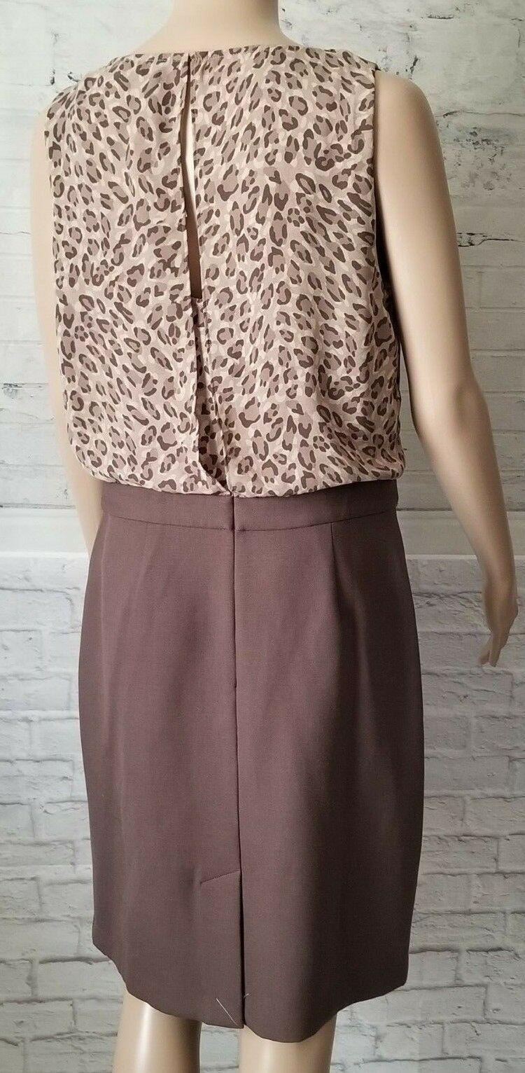 Ann Taylor Loft Women Brown Animal Print Business Sleeveless Dress Size 8 NEW