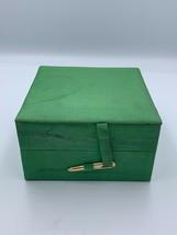 Vintage Jewellery Box Ring  Organiser Green Silk Box - $44.10